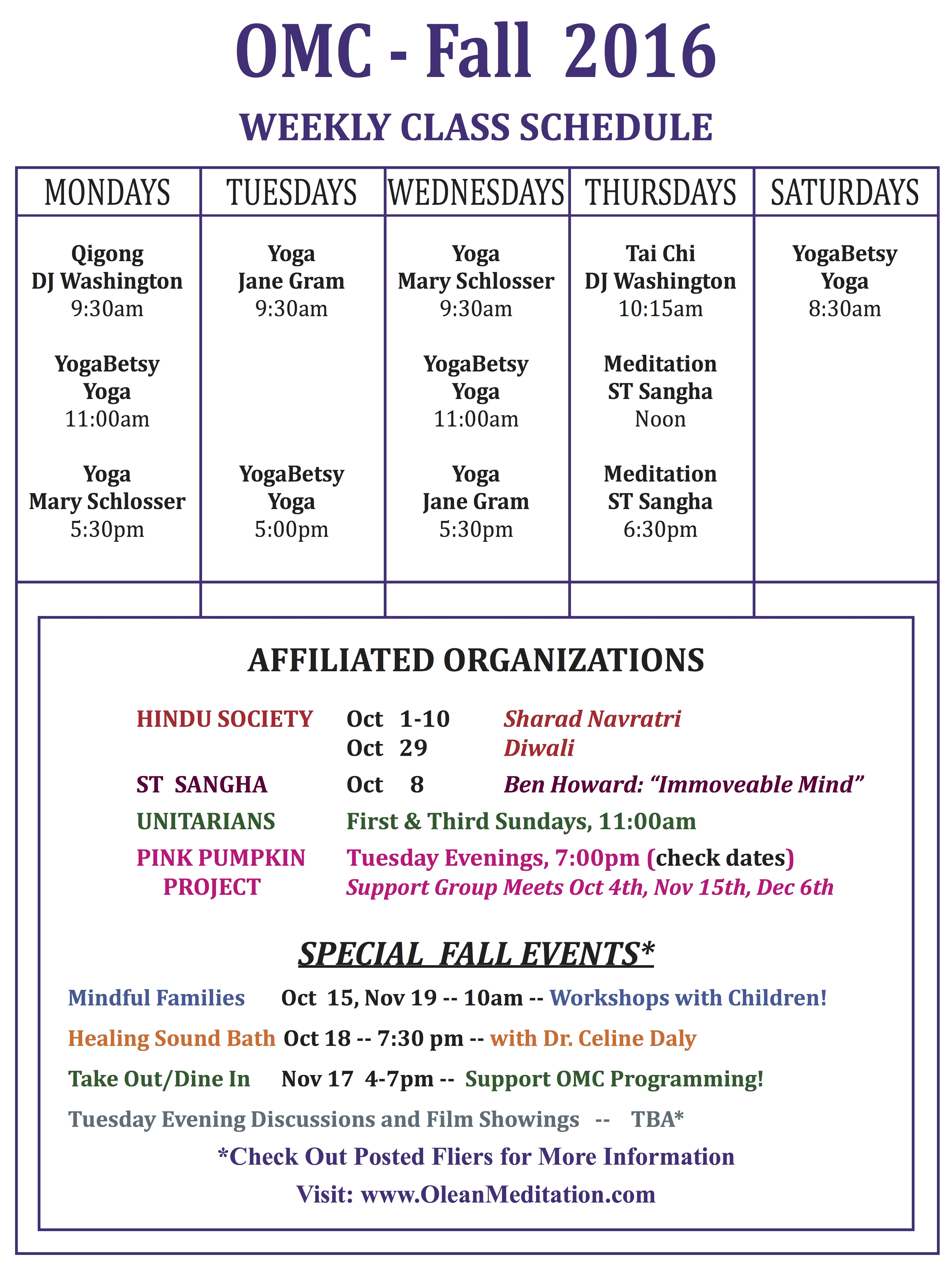 OMC's Fall 2016 Schedule