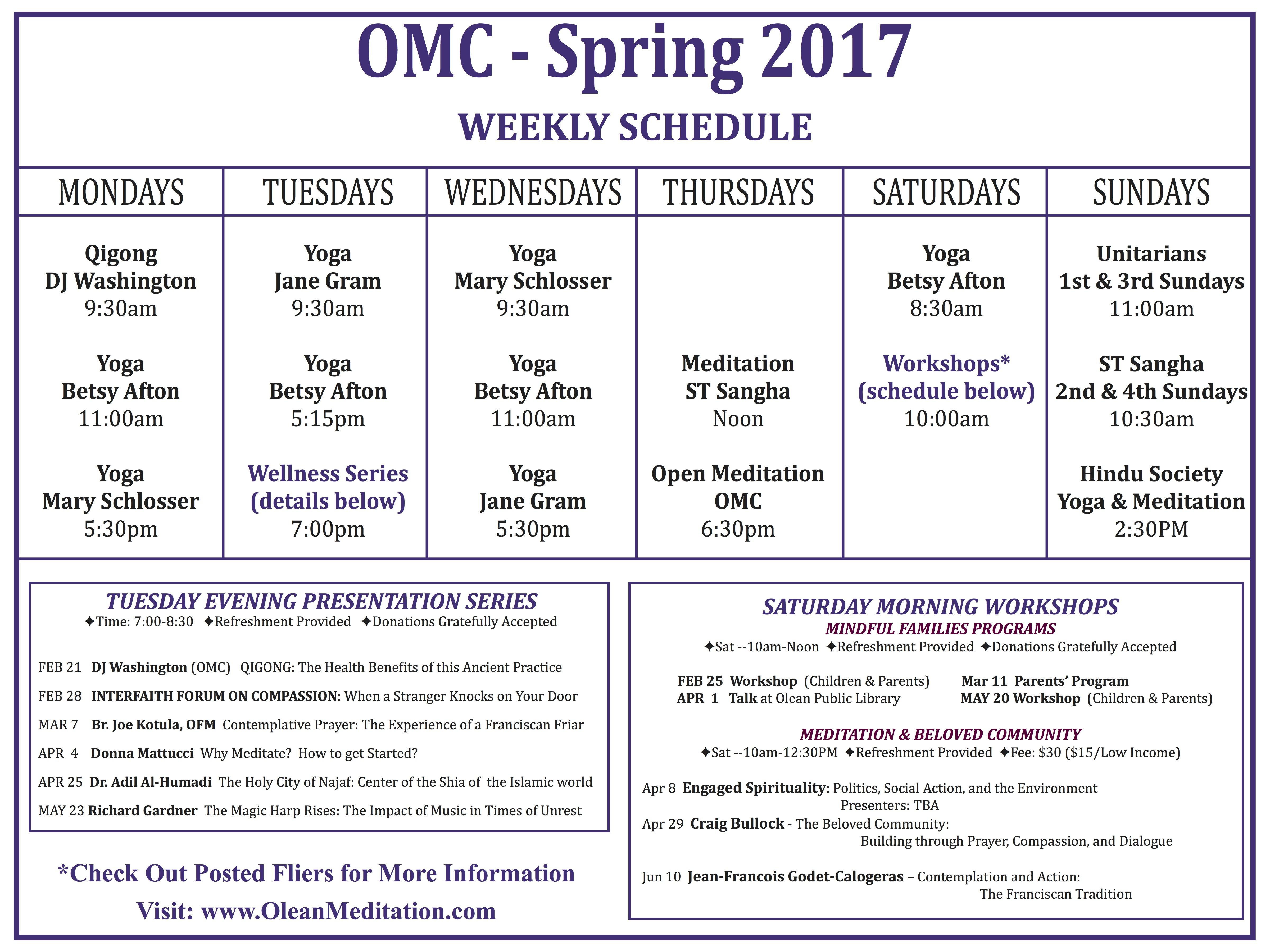 Check Out OMC's Spring 2017 Calendar! – Olean Meditation Center