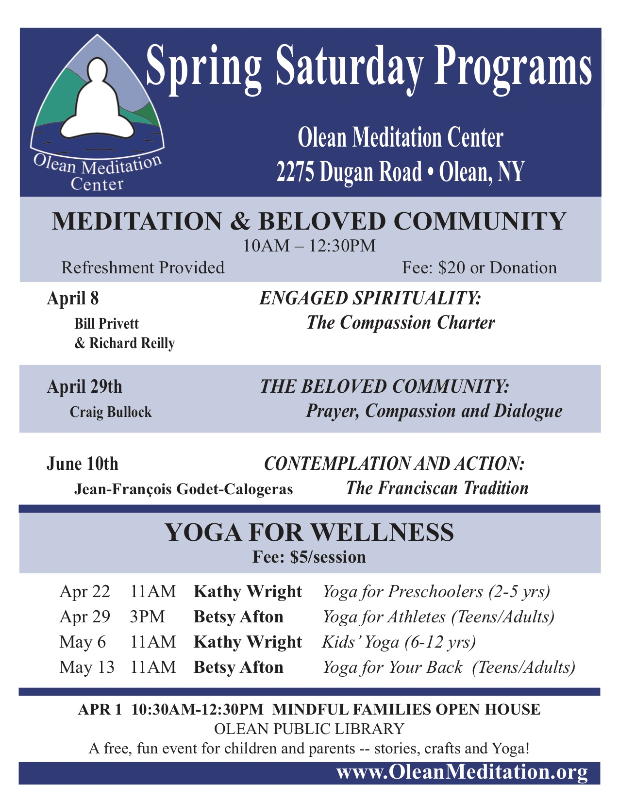Spring Saturday Programs: Meditation & Beloved Community