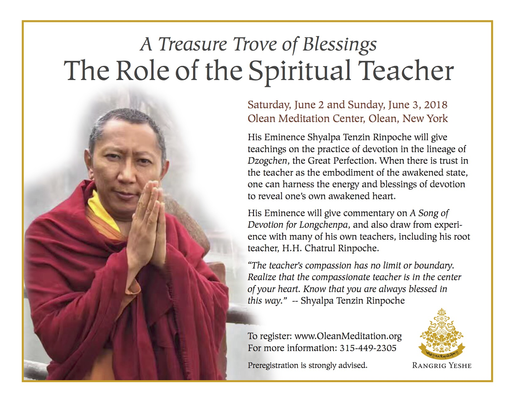 The Role of the Spiritual Teacher retreat ad