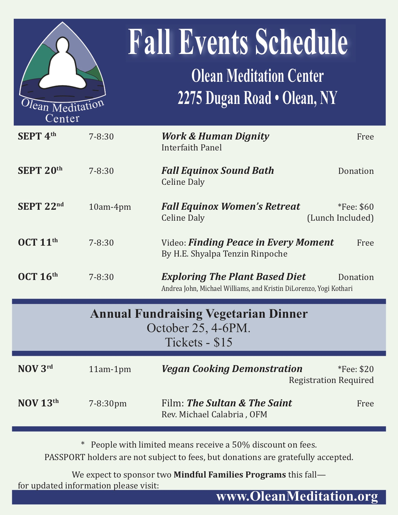 Olean Meditation Center's Fall 2018 schedule