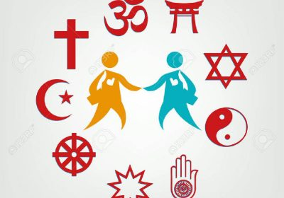 Photo of 9 different religious symbols arranged in a circle, and two people shaking hands in the middle